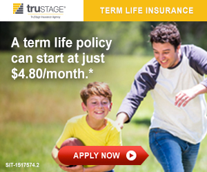 TruStage Insurance.  A term life policy can start at just $3.65*/month.  Apply now.